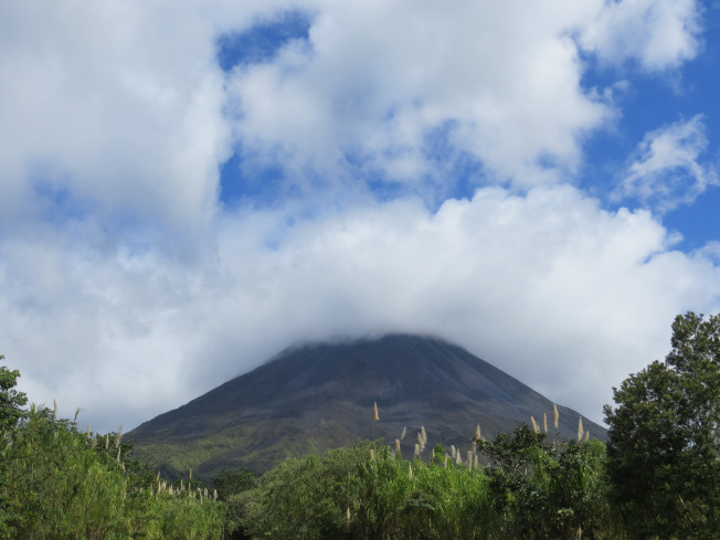 Arenal Volcano. Sadly the clouds were always covering the top.