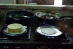 Making traditional breakfast at Kaya's, Gallo Pinto (Rice and beans, eggs and tortillas)